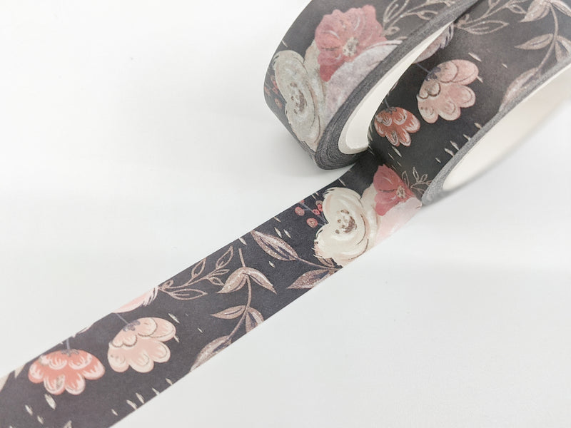 Dark Floral Washi Tape