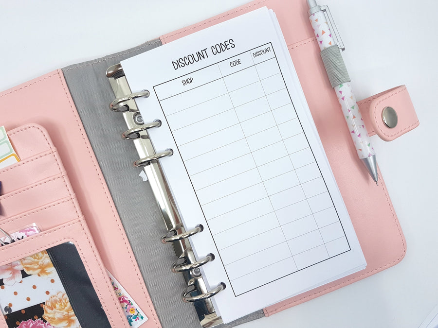 Personal Size Discount Code Tracker | 10 x double sided sheets