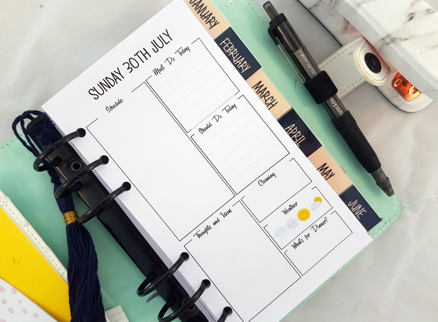 Printed Personal Size/Medium Day on One Page (DO1P) planner refill with Cleaning, Weather and Must Do/Should Do Lists