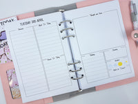 A5 Day on Two Pages Planner Inserts