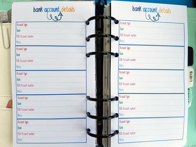 Personal Size Bank Account Details Planner Inserts | 10 double-sided sheets