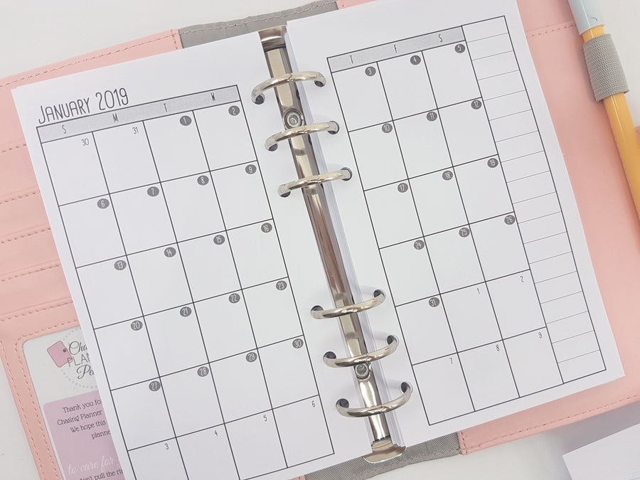 Personal Size Month on Two Pages (MO2P) Planner Inserts - monochrome