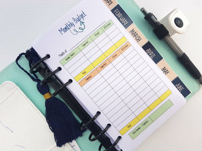 Personal Size Budget Bundle Planner Inserts | 13 double-sided sheets | Colour