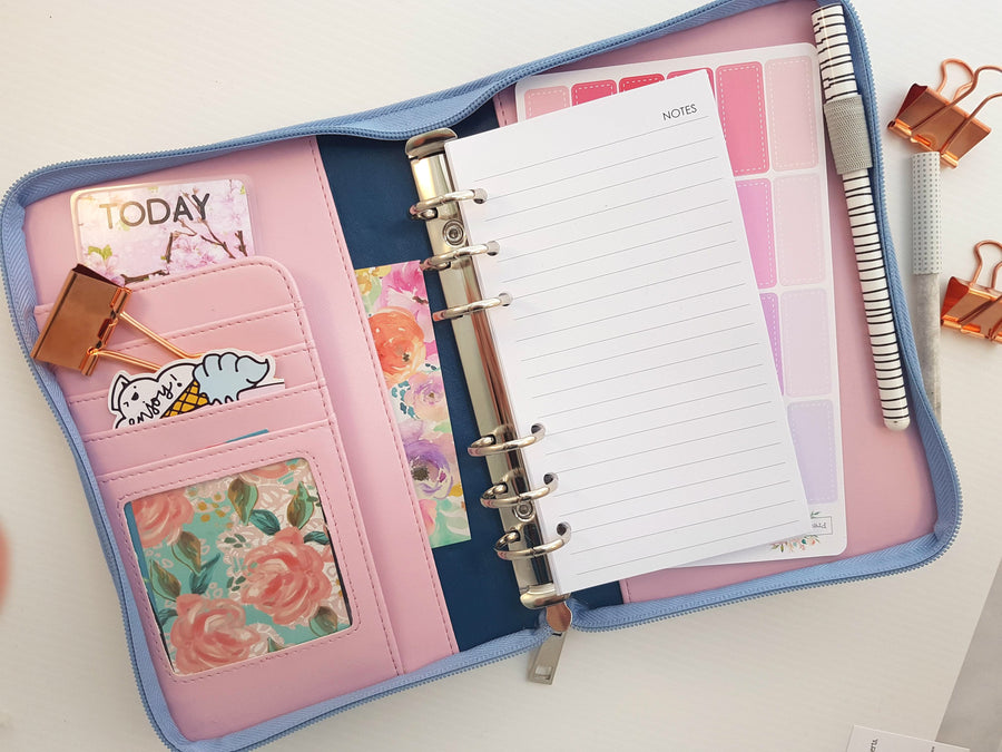 Personal Size Planner- with Zip Closure- Pastel Blue