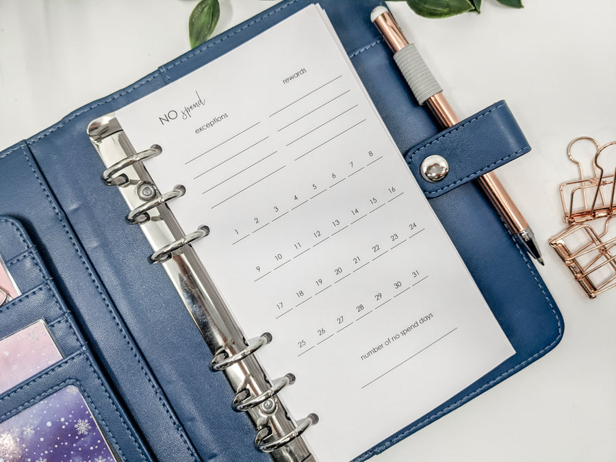 Personal Size 'NO SPEND' monthly habit trackers | 12 x pages