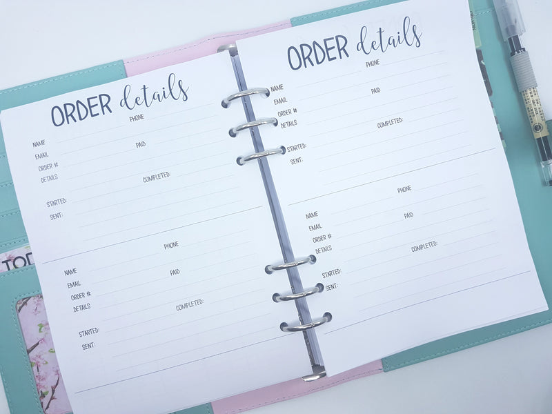 Order Details Inserts  | 10 x double-sided sheets