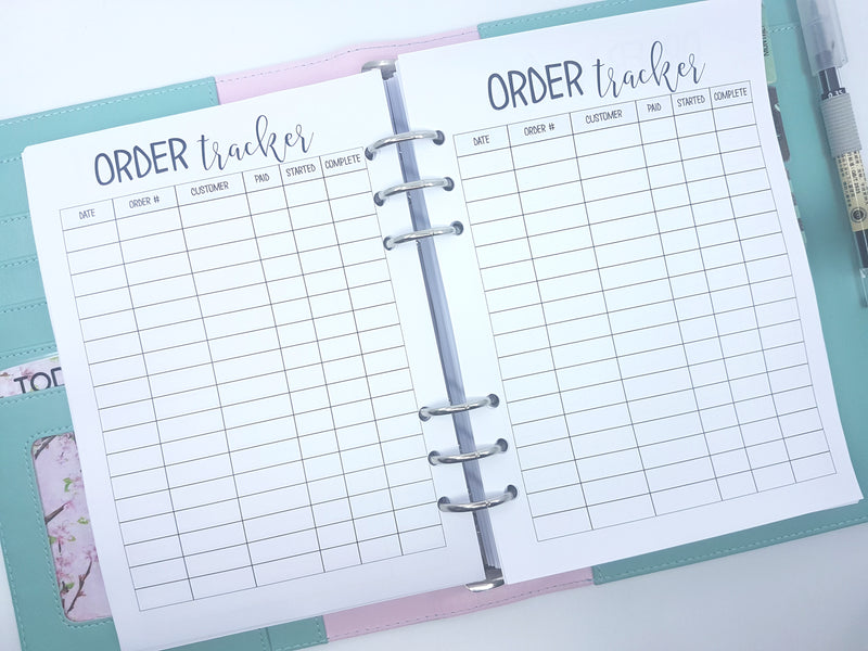 Order Tracker Inserts  | 10 x double-sided sheets