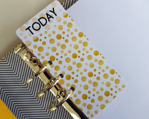"Gold Dot ""TODAY"" page marker for planners"