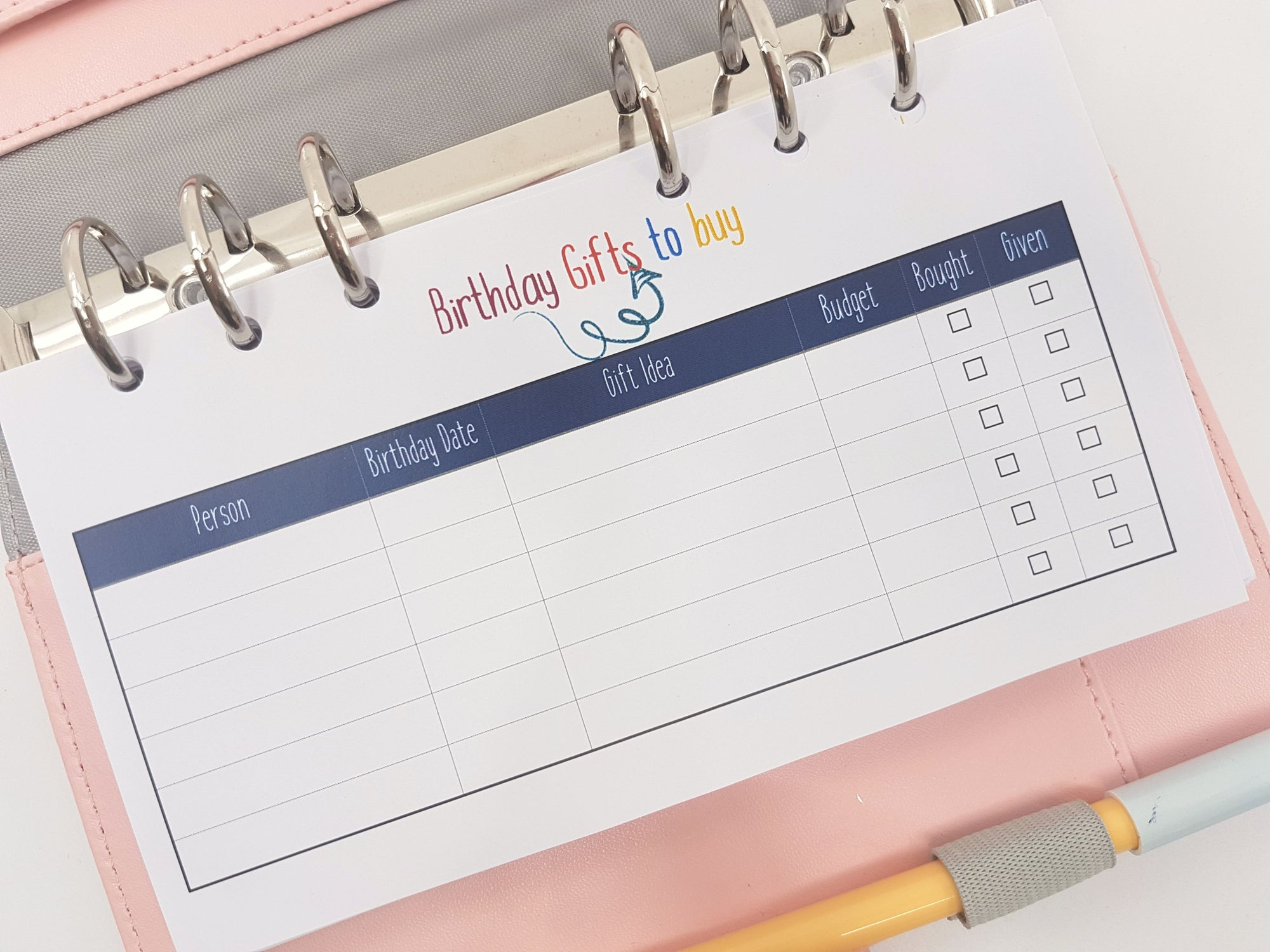Personal Size Birthday Gift Tracker