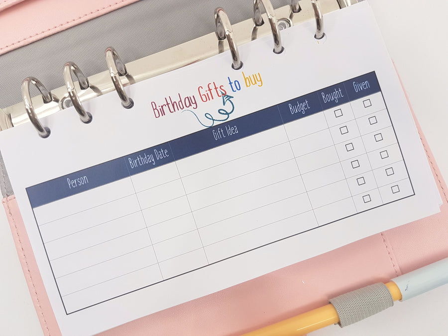 Personal Size  Birthday Gift Tracker | 10 double-sided sheets