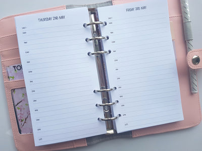 Personal size 'Day on One Page' Inserts | Simple Style | Timed or Untimed