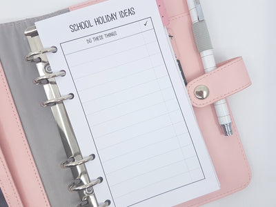 Personal Size School Holidays planner inserts | 2 double sided sheets