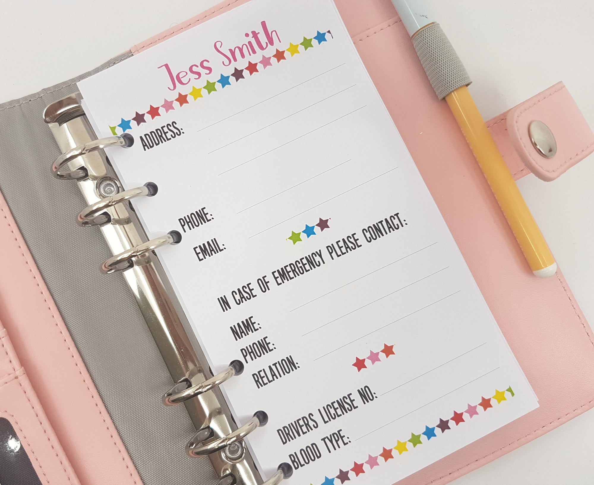 Personal Size Contact Information Planner insert