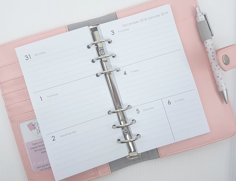 Personal Size Horizontal Weekly Planner Inserts | Simple Style | Lined or Unlined