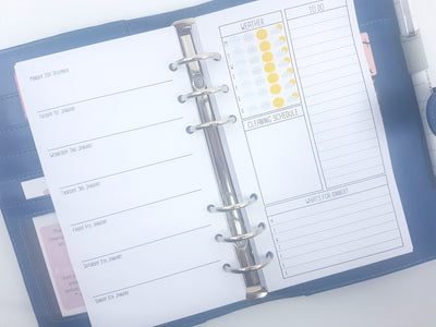 Personal Size Week on One Page + Trackers on Right Planner Inserts