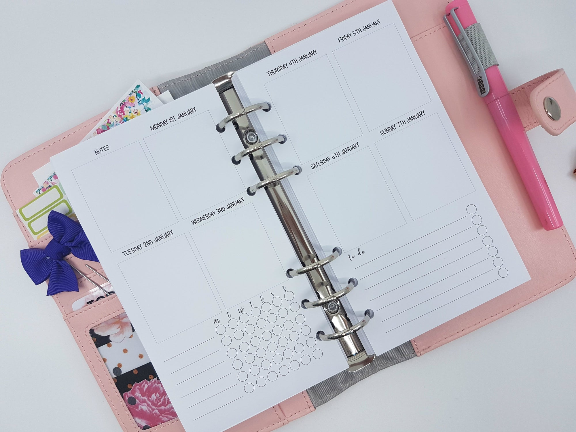 Personal Size - Weekly Planner Refill {Erin Condren Size Boxes} with To Do List and Habit Tracker