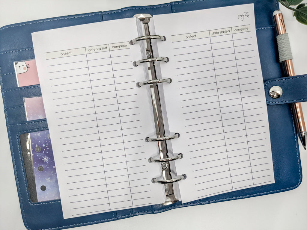 Printed Personal Size Projects Planner Inserts | for Medium planner | 10 double sided sheets