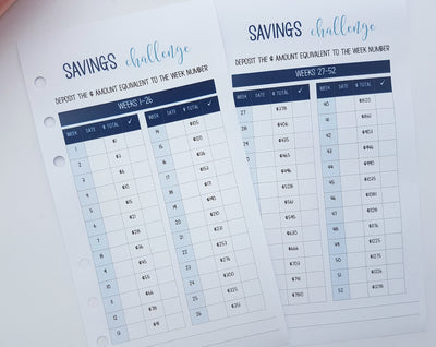Personal Size 52 Week Savings Challenge Planner Insert