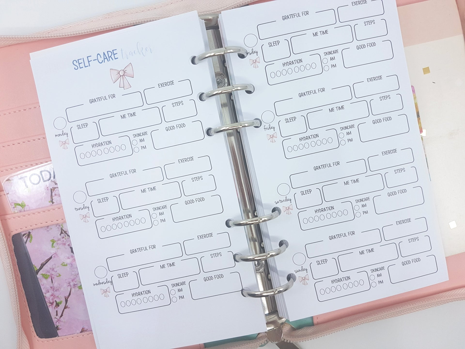 Personal Size Self-Care Planner Inserts