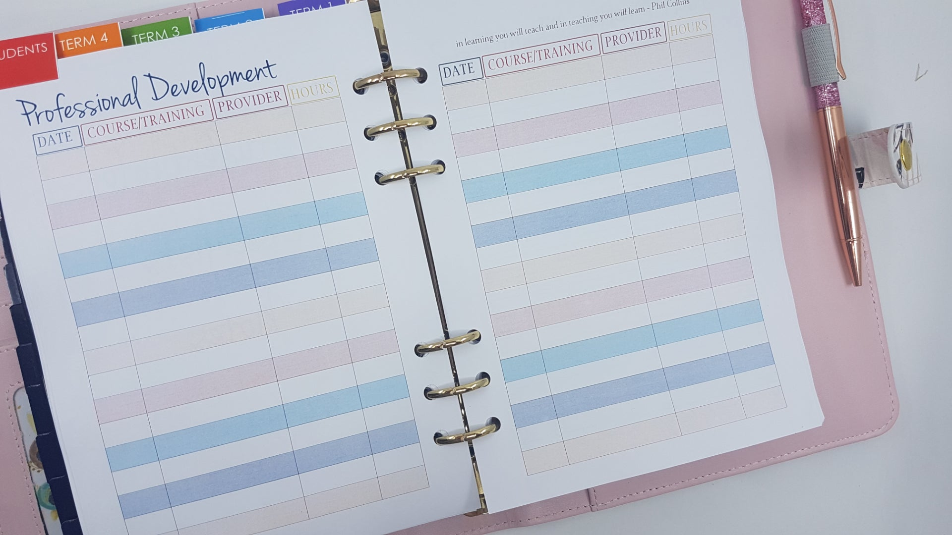 Professional Development Log for Teacher Planner