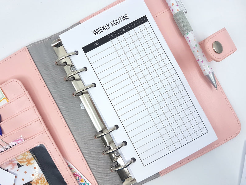 Personal Size Weekly Routine planner inserts |10 single sided sheets