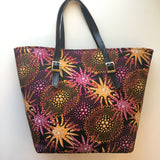 Ankara tote bag with leather straps
