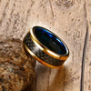 Image of High Polished Blue & Gold Tungsten Ring