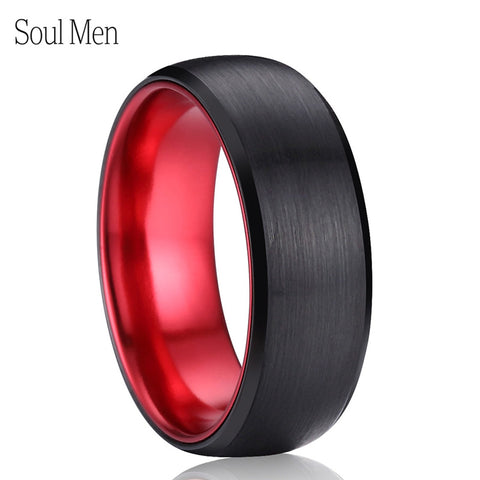 Black & Red Tungsten Carbide Ring
