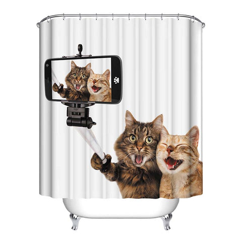 Cat Selfie Shower Curtains