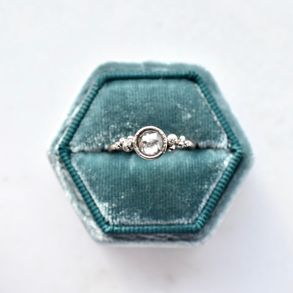 Salted Engagement Ring / Platinum + Rose Gold