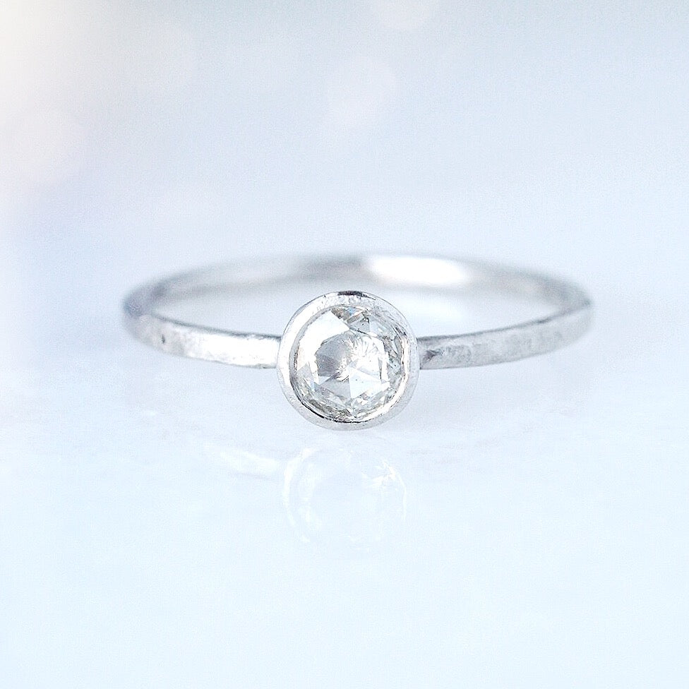 Rose cut Diamond in Platinum