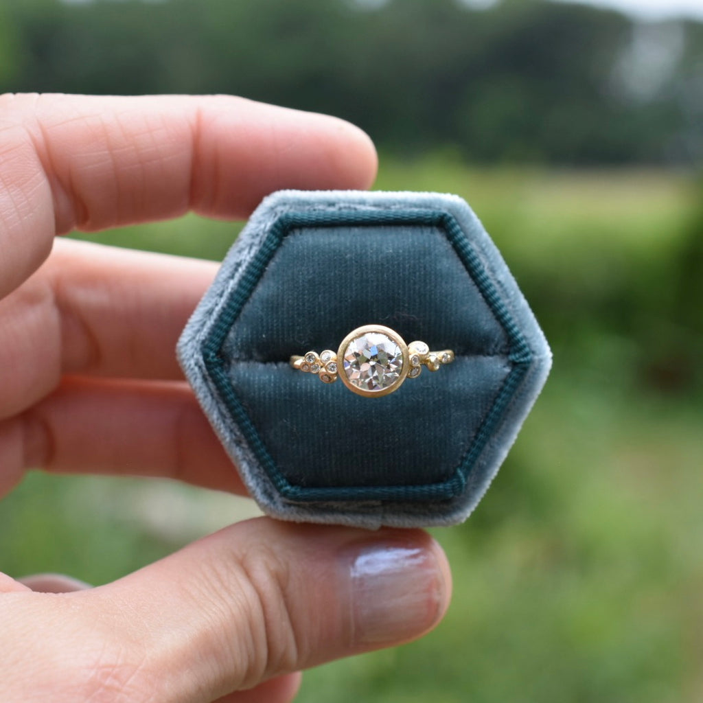 Salted Engagement Ring / 18k Gold