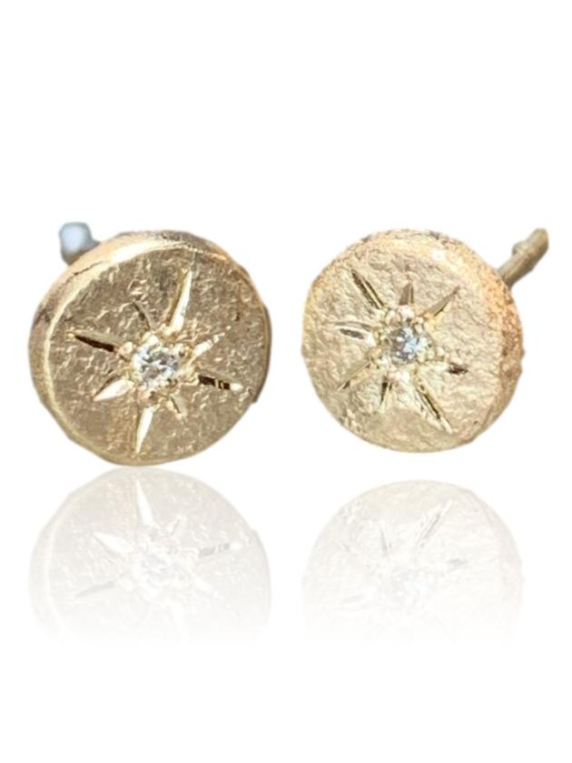 Compass Stud Earrings / 14k yellow gold