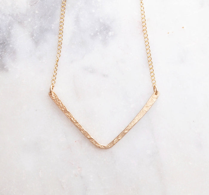 Chevron Necklace. Gold Layering Necklace. Simple Necklace. Everyday Necklace. Open Triangle