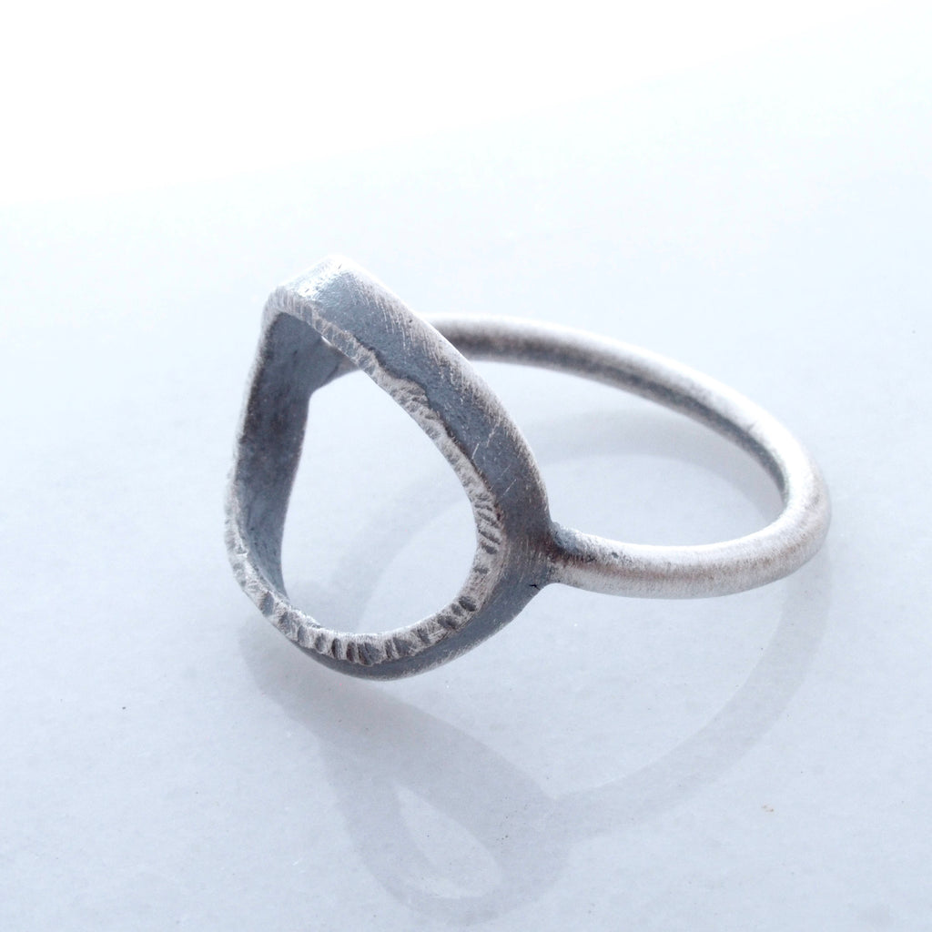 Full Moon Ring in Sterling Silver. Textured hammered open circle ring. minimal everyday ring. oxidized ring. Moon Phase Jewelry.