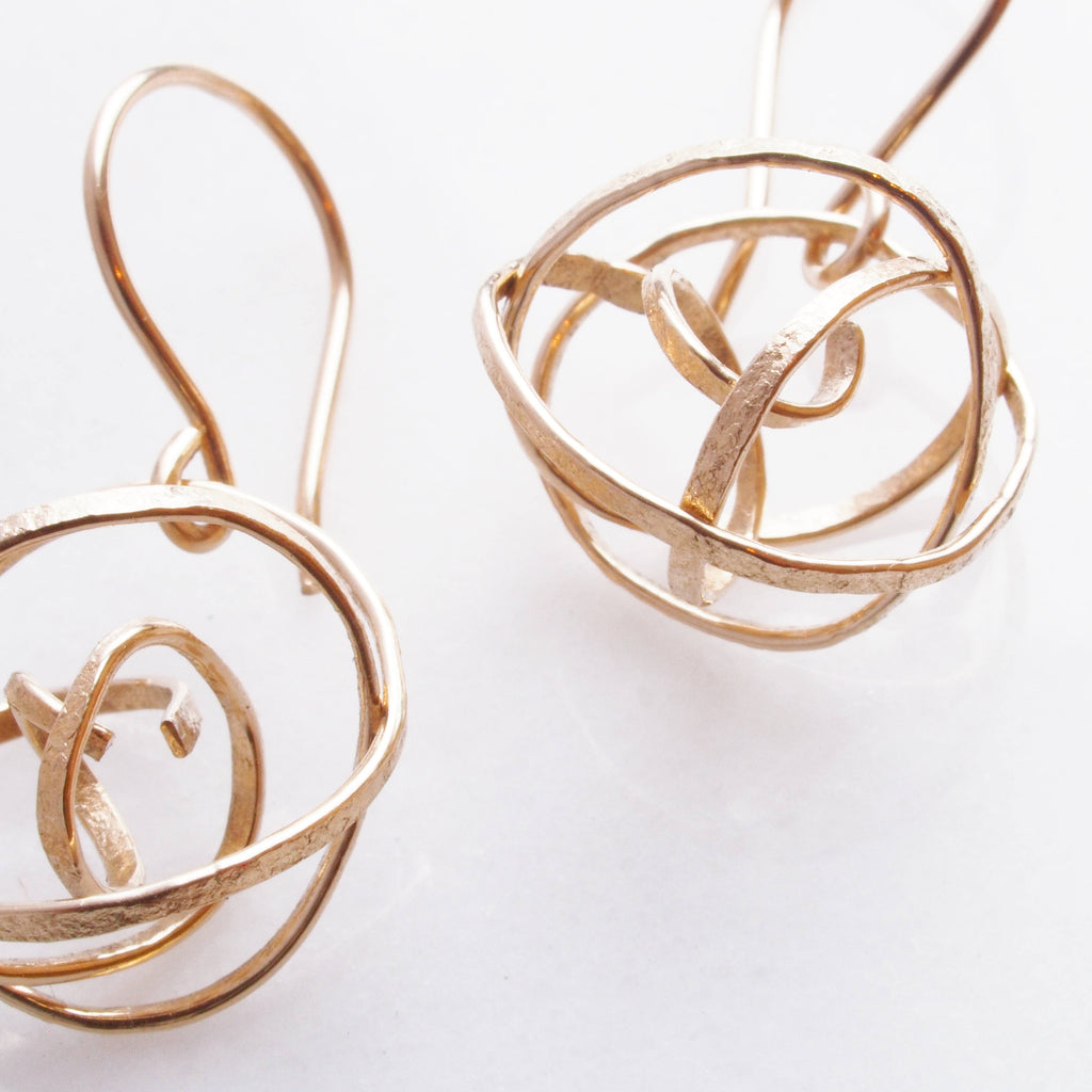 Gold Nest Earrings. Twisted and tangled gold thread earrings. gold dangly earrings. delicate jewelry, everyday earrings, lightweight earring