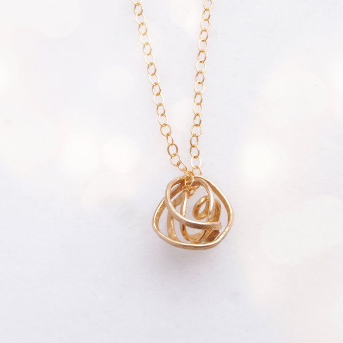 Gold Nest Necklace. Dainty Gold Necklace. Layering. Gold Necklace. Delicate Gold necklace. Gold Forever Knot Necklace. Bridesmaid Gift