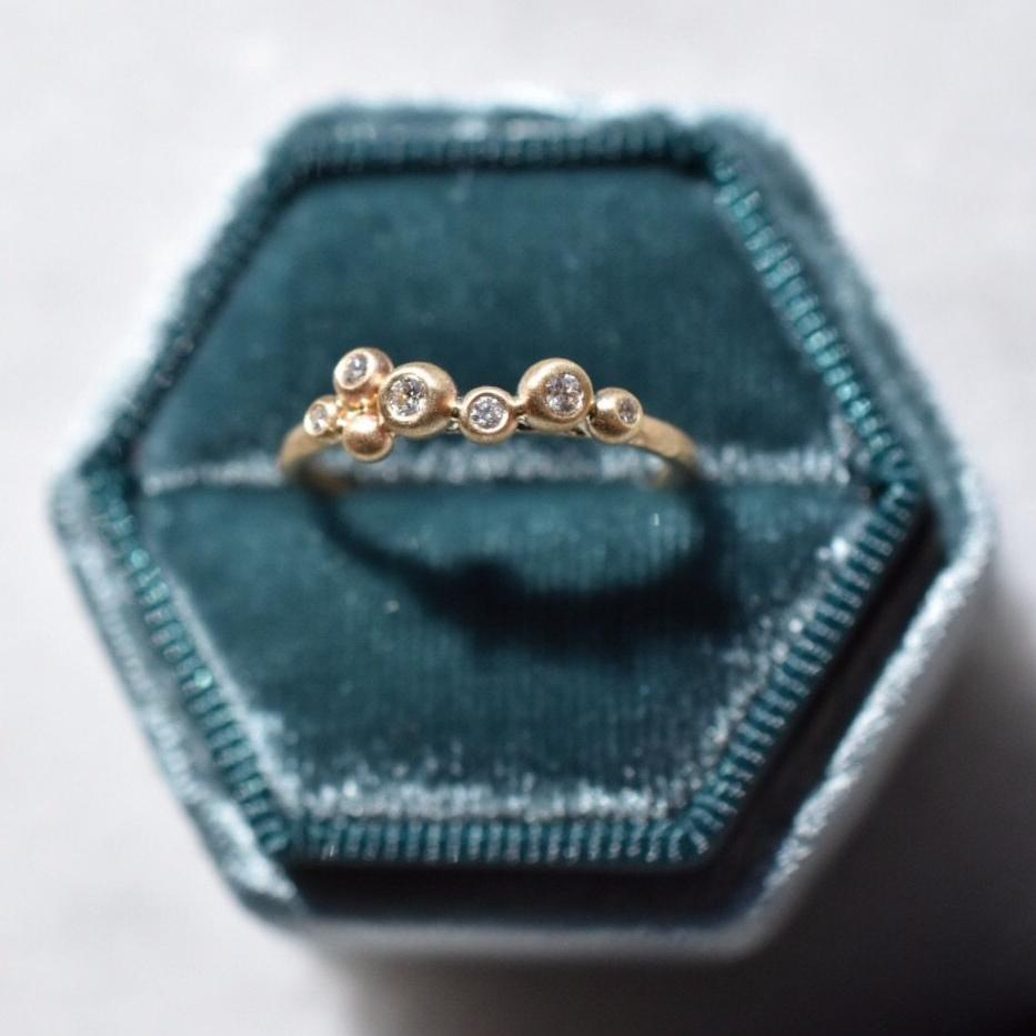 Salted Ring / 14k Yellow Gold + Diamonds