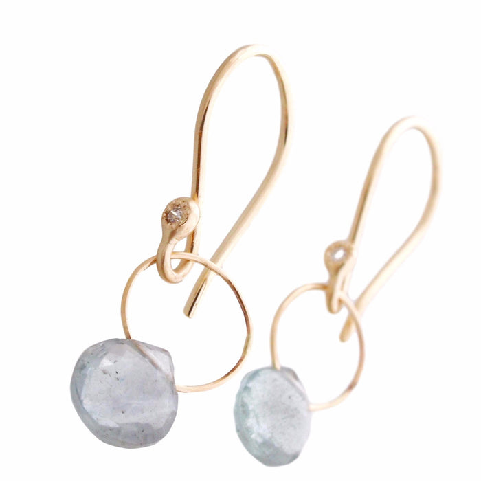 Aquamarine + Gold Drop Earrings