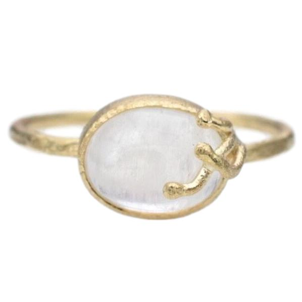 Seaweed Ring / Rainbow Moonstone