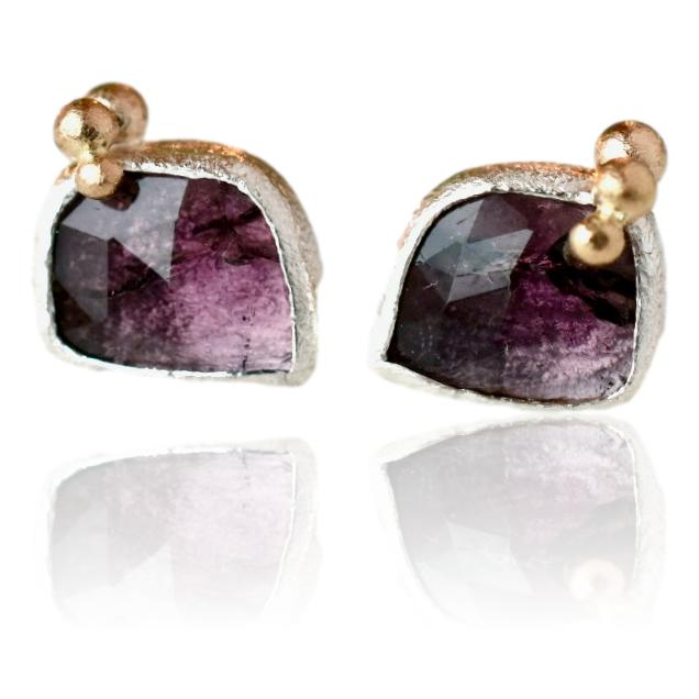 Berry Tourmaline Salted Studs