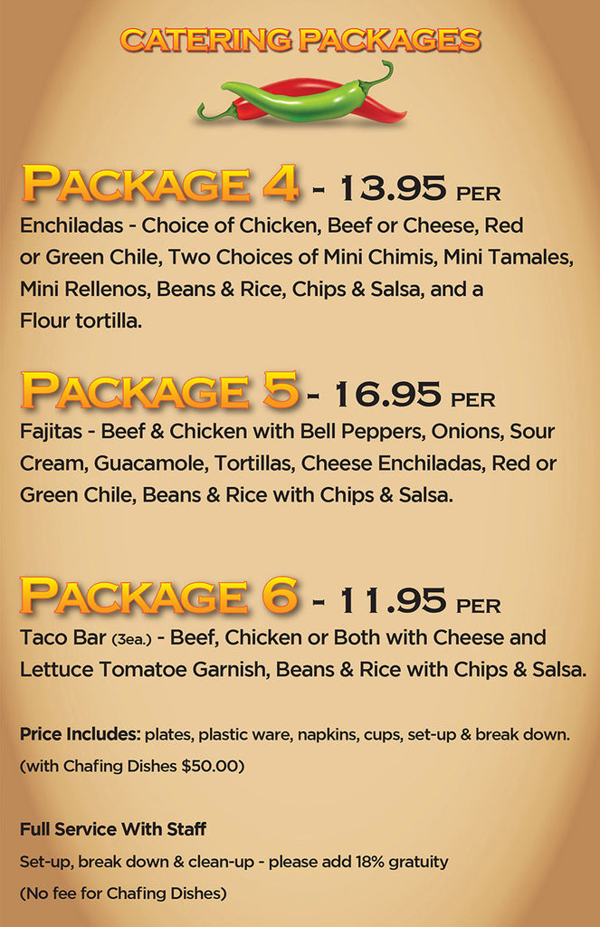 Catering Menu New Mexican Food Little Anita's