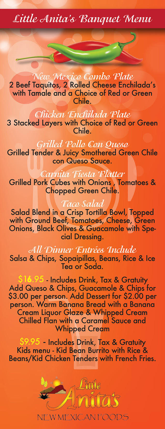 Little Anita's New Mexican Food Banquet Menu Old Town Location on Mountain in Albuquerque