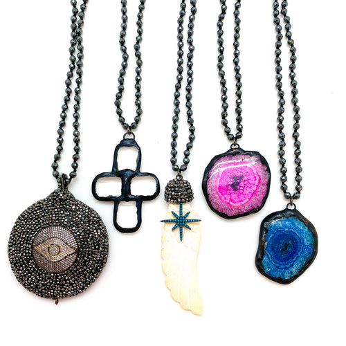HEMATITE + ASSORTED PENDANTS - MULTI WRAP