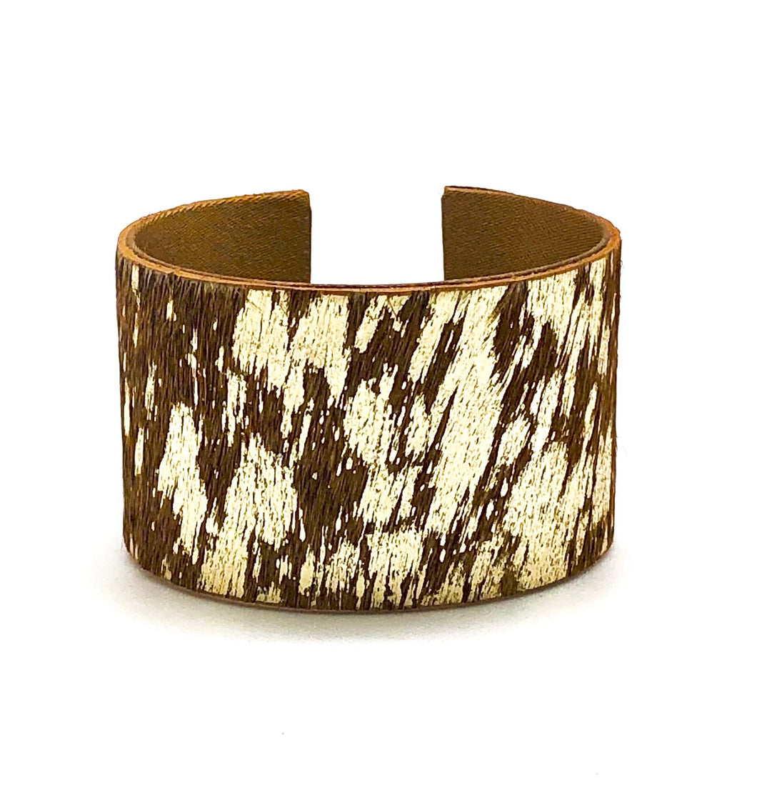 TAN METALLIC HIDE CUFF