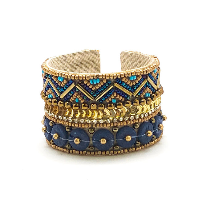 BLUE + GOLD BEADED CUFF