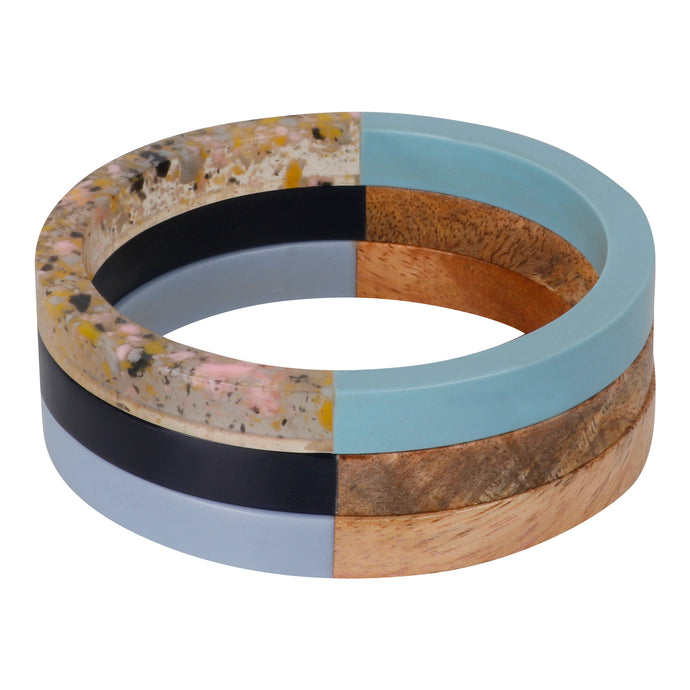 WOOD + RESIN TRIPLE STACK - BLUE MULTI