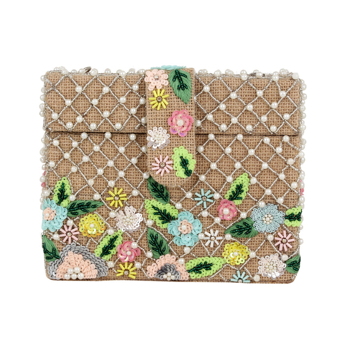 BEADED FLOWER BOX CLUTCH