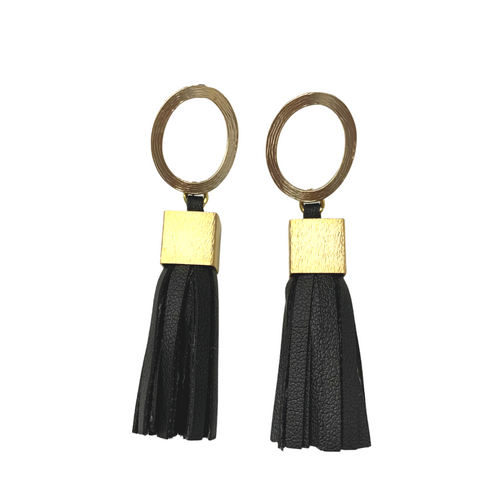 LEATHER TASSEL + GOLD POST