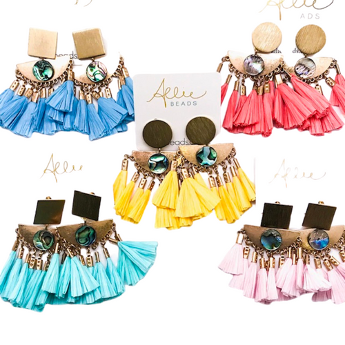 RAFFIA TASSELS + ABALONE ACCENT - ASSORTED COLORS (PIERCED)